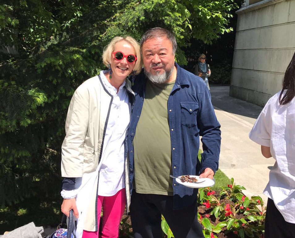 Benita Röver with artist Ai Weiwei in Venice, May 2017